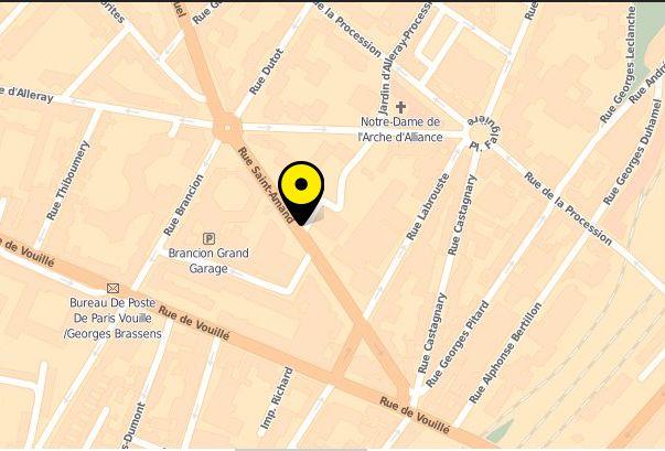 Plan pages jaunes - Frédérique Bricaud - Psychothérapie Gestalt Paris 15